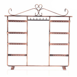 Wholesale Holders Wrought Iron - Jewelry Display Stand Jewelry Holder Necklace Earring Rack Wrought Iron Shelf 64 Holes 6 Hooks Jewelry Organizer