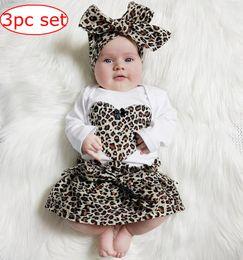 Wholesale Girls Heart Skirt - INS Spring new kids leopard love heart romper & infant tutu skirt & headband Suit Boys Outfit bow tie shirt+ stripe casual pants Boy Suit