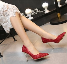 Wholesale High Fashion Wedding Bling Shoes - Sparkling Women Shoes Sequined Pointed Toe Women Pumps Fashion Bottom High Heels Shoes Bling Bling for Women Wedding shoes