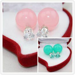 Wholesale Korean Black Pearl Earrings - Factory direct wholesale - Korean exquisite earrings Crystal Rhinestone gold Pearl Earring Studs Fashion jewelly Earring for Girls