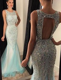 Wholesale Black Hole Models - Luxury 2016 Prom Dresses Mermaid Crystal Beading Mint Formal Evening Gowns Jewel Neck Key Hole Back Floor Length Tulle Ball Gowns