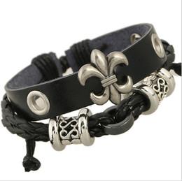 Wholesale Wholesale Arrowhead Charms - Wholesale Charm Bracelets Newly Simple Handmade Fashion Mutilayer Infinity Arrowhead For Men Wide Leather Bracelets Jewelry