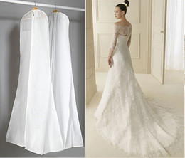 Wholesale Garment Bags For Travel - High Quality Large All White Dust Bags For Wedding Dress Gown Long Garment Covers Travel Storage Dust Covers Bridal Wedding Accessories
