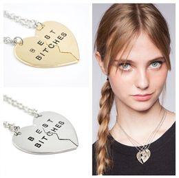 Wholesale Gold Jewelrys - New 5Set lot (Gold, Silver) 2 Parts Broken Heart Best Bitches Vintage Pendant Necklace Fashion Jewelrys