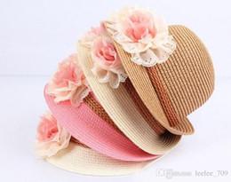 Wholesale Summer Baby Straw Hat - Baby Flower Caps Baby Hat Kids Straw Fedora Hat Girls Sun Hat Children Summer Hat Jazz Cap Two flower sun hat pink beige children Beach Hat