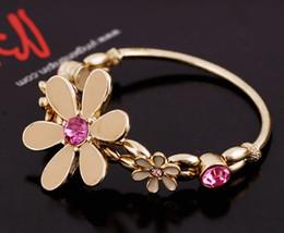 Wholesale Colored Glaze - New charm bracelets alloy bracelets for women Colored glaze Daisy flowers bracelet Set auger Valentine's day gifts SZ20