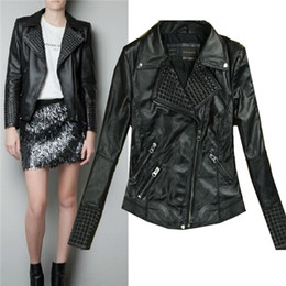 Wholesale Leather Coat Fur Neck - Leather Jackets for Women Women Clothes Women Fashion Slim Biker Motorcycle PU Soft Leather Zipper Jacket Coat Leather Jacket Women