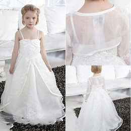 Wholesale Ivory Wedding Waistcoats - With a Waistcoat 2015 Pretty Beadings Girls Princess Pageant Dresse Ball Gown Floor-Length Snow White Zipper Tulle Flower Girls' Dresses