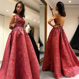 Wholesale Elegant Elie Saab Dress - 2017 Elegant elie saab Evening Dresses Lace Appliques Sleeveless Formal Prom Gowns A Line Backless Floor Length Special Occasion Wear Cheap