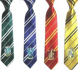 Wholesale Harry Potter Striped Tie - Harry Potter Tie halloween costume accessories harry potter gryffindor tie Slytherin tie Ravenclaw tie hufflepuff striped ties in stock