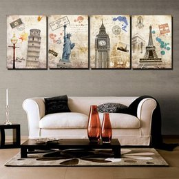 Wholesale Hot Picture Frames - 2014 seconds kill 4 piece free shipping hot sell wall painting building city home decorative art picture paint on canvas prints