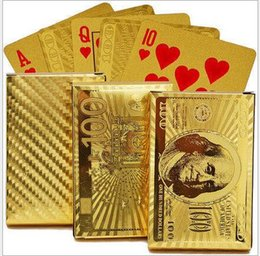 Wholesale Pure Gold 24 - 2017 Pure 24 K Carat Novelty Gold Foil Plated Poker Playing Cards W  52 Cards & 2 Jokers Gift Table Games