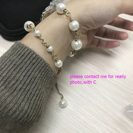 Wholesale Double Pearl Bracelets - New Fashion pearl bracelets or necklace (double-duty) for women C with stamp fashion symbol Luxury pearl bracelet with bag best gift