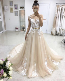 Wholesale Chocolate Metal - Gorgeous Champagne Tulle Appliques Evening Dresses Sheer Neck Cap Sleeves Metal Belt Ball Gown Prom Dresses Formal Evening Dresses