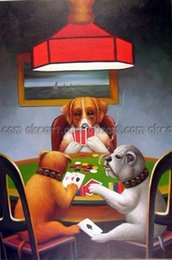 Wholesale Dogs Playing Poker - 100% hand painted Dogs Playing Poker Cards Famous Americana decoration Oil Painting Art free shipping High quality