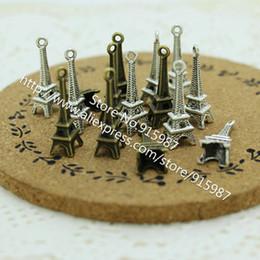 Wholesale Metal Charms Pendants Eiffel Tower - Wholesale-100 pieces lot 8*23mm Two color Antique Metal Alloy 3D Mini Eiffel Tower Charms Pendants Jewelry Making D0043