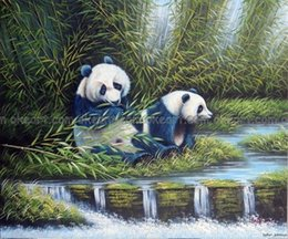 Wholesale Bamboo Forest Painting - 100% hand painted Giant Pandas In Forest Eating Bamboo Shoots decoration Oil Painting free shipping High quality