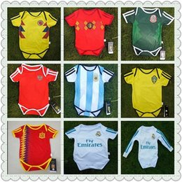 Wholesale Fans Clothing - Baby soccer Jersey 2018 World Cup Argentina Belgium RONALDO Sleeved Jumpsuit Baby Triangle Climb Clothes Loveclily 18 Ronaldo ISCO baby fans