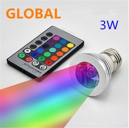 Wholesale Led Light Rgb 12v - LED RGB Bulb 3W 16 Color Changing 3W LED Spotlights RGB led Light Bulb Lamp E27 GU10 E14 MR16 GU5.3 with 24 Key Remote Control 85-265V & 12V