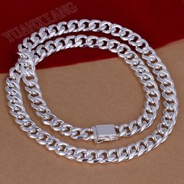 Wholesale Square Rope - N011-20 Free Shipping! 925 Sterling Silver Rope Linked Chain Square Buckle 10mm Unisex Necklace Fashion Jewelry Wholesale Price