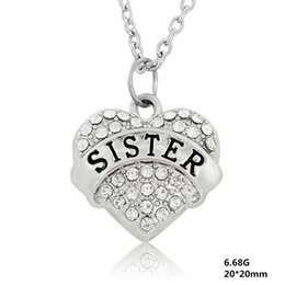 Wholesale Single Rhinestone Necklace - Letter SISTER Heart Pendants 50pcs a lot Single-Sided Elegant Mixcolor Rhodium Plated For Women Statement Necklaces DIY Jewelry