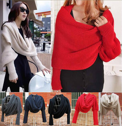 shawl scarf sleeves Coupons - 2015 Winter Women Warm Infinity Scarf Soft Knit Long Wraps Shawl Scarves With Sleeve 5 Colors Choose 100pcs lot