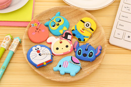 Wholesale Cute Key Caps - DHL Free 2000Pcs Novelty Kawaii Cute Cartoon Animal Minions Silicone Key Caps Covers Phone Accessories Keychain Case Shell