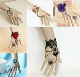 Wholesale Bracelet Slave - Bijoux Pulseiras Femininas Handmade Vintage Gothic Lace Slave Bracelets Bangles DIY Bride Bracelets Hot Wedding Accessories