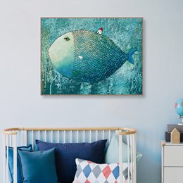 Wholesale modern art fish paintings - Modern Watercolor Big Fish Canvas Print Poster Abstract Animated Fairies Pictures Wall Art Kids Room Home Deco Painting No Frame