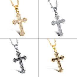 Wholesale Cross Design Gold - Covered Zircon Cross Pendant Popular Titanium Steel Women Men Personality Necklace Jewelry Classical Design Birthday Present