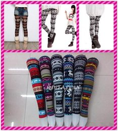 Wholesale Nordic Knit Style - 2017 multicolor New Arrivals Lady Nordic Deer Snowflake Knitted legging fashion Leggings Tights Pants Thin style 20pcs L516