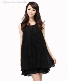 Wholesale anti radiation maternity - Wholesale-Solid pink black sleeve less Summer dress for pregnant women sexy maternity fashion party chiffon dress saia female clothes tops