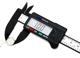 Wholesale Digital Lcd Caliper Vernier Gauge - 150mm 6inch Digital Electronic Carbon Fiber Vernier Calipers LCD Plastic Caliper Gauge Micrometer Ruler T0009-1