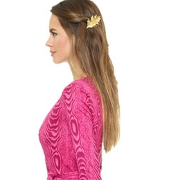 Wholesale Trade Hair Clips - trade fashion jewelry big piece Maple Leaf metal hairpin side clip hair accessories A1108