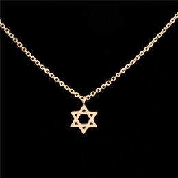 Wholesale Charm Jewish - Wholesale 10Pcs lot Time-limited 2017 Stainless Steel Jewelry Pendant Tiny Jewish Star of David Gold Chains Choker Necklaces for Women