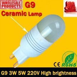 Wholesale Led Crystal Bead Lights - G9 LED Bulb light Lamp 220V high power 3w 5w 7w bright bulbs fashion ceramic crystal light bead Warm white Cold white