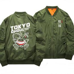 Wholesale Anime Appliques - Anime Tokyo Ghoul Bomber Jacket Kaneki Ken Printed Stand Collar Baseball Jacket Pilot Jackets Free Shipping