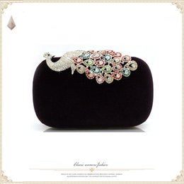 Wholesale Designer Bags Peacock - 2016 New Fashionable Designer Bridal Hand Bags Peacock Pattern Crystals Shiny Evening Handbags Special Occasions Handbags MH089