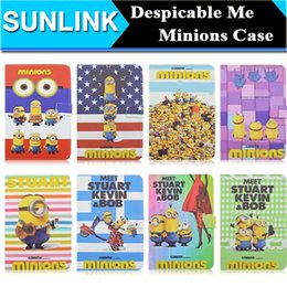 Wholesale Minion Cover For Ipad Mini - New Arrival Cute Cartoon Despicable Me 2 Minions Folio Stand Leather Wallet Cases Cover For iPad Mini 4 7.9 Inch