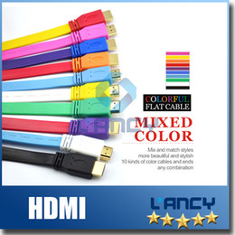 Wholesale Digital Video Cables - Full 1080p HDMI To HDMI Cable Version1.4 Digital Video Cable Colorful Flat Noodle AUDIO Cable High Speed HDMI Cable 10 Pieces free shipping