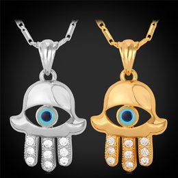 Wholesale Hamsa Necklace Evil Eye - Fashion Evil Eye Hamsa Hands Charm Pendants & Necklaces For Women 18K Real Gold Plated Pendant Necklace Jewelry For Women P222