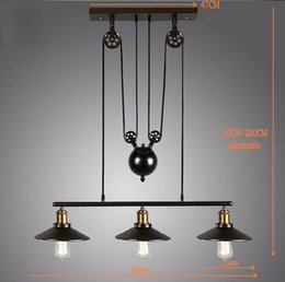 Wholesale edison pendants - Wholesale-2015 Vintage American Country Loft Edison Lifting Light Industrial Pulley Pendant Light Adjustable Lamp Bar Decor wheel Light