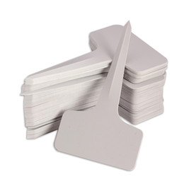 Wholesale Garden Labels - Free shipping Hot sale 100pcs 6 x10cm Plastic Plant T-type Tags Markers Nursery Garden Labels Gray SGG#