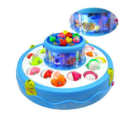 Wholesale Magnetic Fish Toys - Child Educational Electric Rotating Magnetic Fishing Game Playset Toys Double Fish Pool with the Music & Light