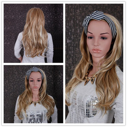 Wholesale Wigs 27 613 - New women curly synthetic hair 3 4 Half wigs synthetic hair high temperature blonde mix color 27   613 women wig