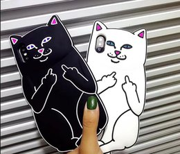 Wholesale Cat Iphone 4s Cases - 3D Cute Cat Soft Silicon Phone Cover Phone Case For iPhone X 4S 5S SE 6S 7 8 plus touch 5 6 itouch6