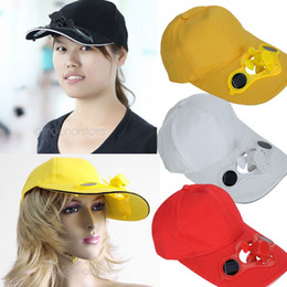 Wholesale New Solar Fans Caps - Wholesale-New 2015 Summer Black Solar Power Hat Cap with Cooling Fan for Outdoor Golf Baseball Retail&Wholesale lx*HM357*5