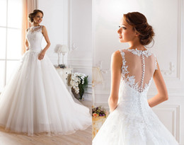 Wholesale Jewel Neckline Lace Wedding Dress - 2015 Sexy Illusion Jewel Neckline A-Line Sheer Wedding Dresses Beaded Lace Fluffy Backless Wedding Gowns Princess Ball Gown Wedding Dresses