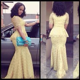 2019 lacet fashion nigeria Robe de soirée africaine robe de mode Longo O cou à manches courtes sirène longues robes de bal jaune dentelle élégante robe de style Nigérian lacet fashion nigeria pas cher