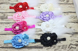 Wholesale Newborn Baptism Headband - 50PCS New Baby Rose Flower and Feather Headband for Girl Hair Accessories Baptism Baby Hair band Newborn princess Photo Prop YM6123